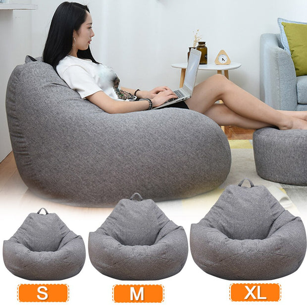 Only Large Small Lazy Sofas Cover Chairs without Filler 100X120CM Bean Bag  Couch Tatami Living Room