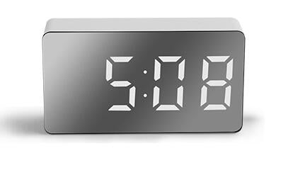 7*4CM Mini Desk Alarm Clock Digital Mirror LED Big Display Bedroom Snooze Timer Home Electronic Table Clock USB Constant Light