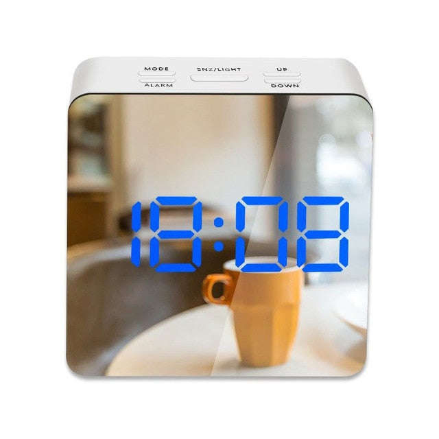 LED Mirror Alarm Clock with Dimmer Snooze Temperature Function for Bedroom Office Travel Digital Home Decoration Clocks