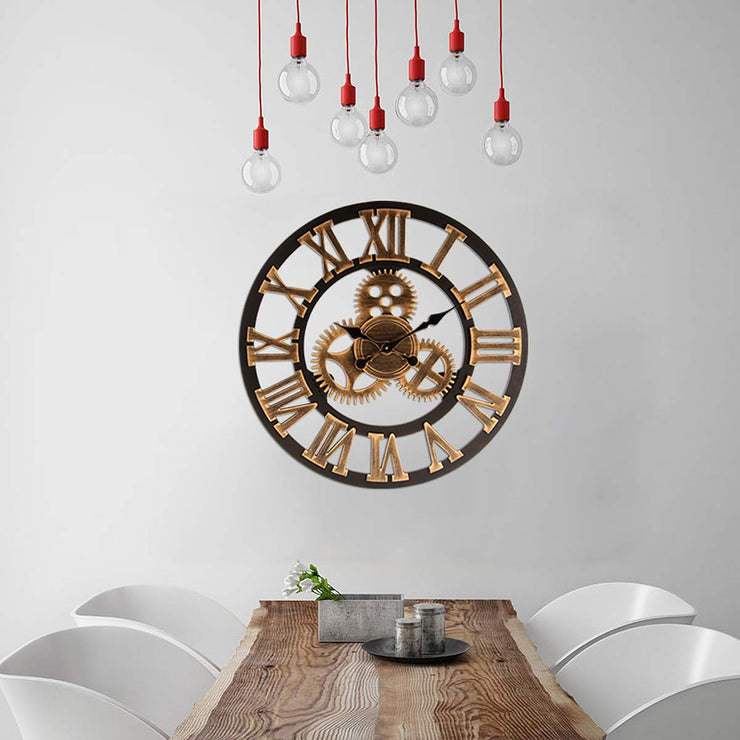 40/60cm Industrial Gear Wall Clock Decorative Wall Clock MDL Wall Clock Industrial Age Style Wall Art Decor Wall Clock for Home