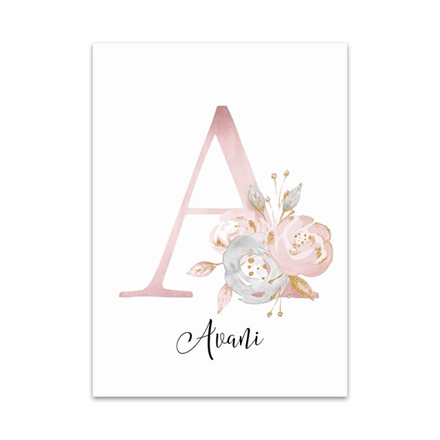 Baby Posters Personalized Girl's Name Custom Painting Animal Poster Nursery Canvas Print Wall Pictures For Kids Bedroom Decor