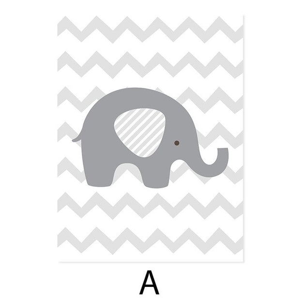 Personalized Baby's Name Custom Gray Elephant Nursery Canvas Painting Poster Wall Art Pictures Decor Kid Bedroom Home No Frame
