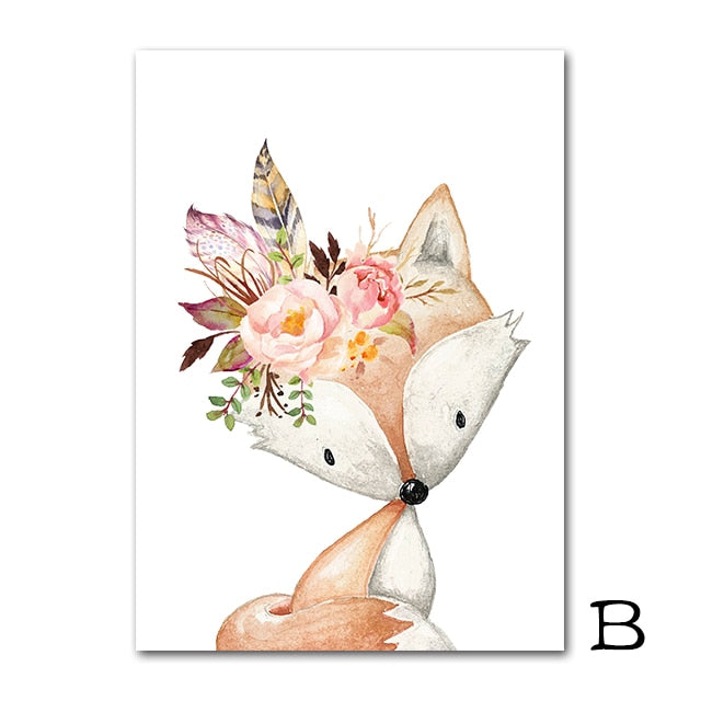 Flower Rabbit Canvas Painting Woodland Animals Poster Nordic Fox Deer Picture Baby Room Wall Art Pictures Nursery Prints
