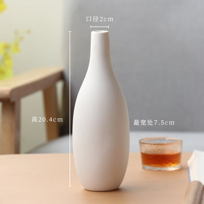 White ceramic vase living room decoration home decor flower container modern wedding centerpiece Table Top Vase for Floral H22cm