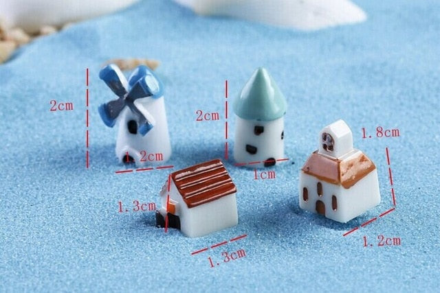 1 Pcs Mini Tree House Character Grass Green Figurine Micro Landscape Miniature Fairy Garden Decoration Accessories Craft Supply