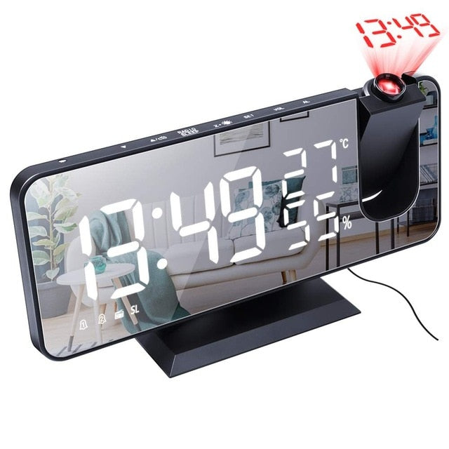 Mrosaa LED Digital Alarm Clock Watch Table Electronic Desktop Clocks USB Wake up FM Radio Time Projector Snooze Function 3 Color