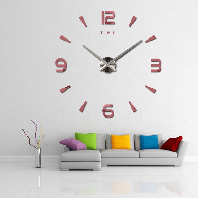 3D big wall clock quartz stone decoration DIY kitchen clock acrylic mirror sticker ultra-quiet digital wall clock home decoratio