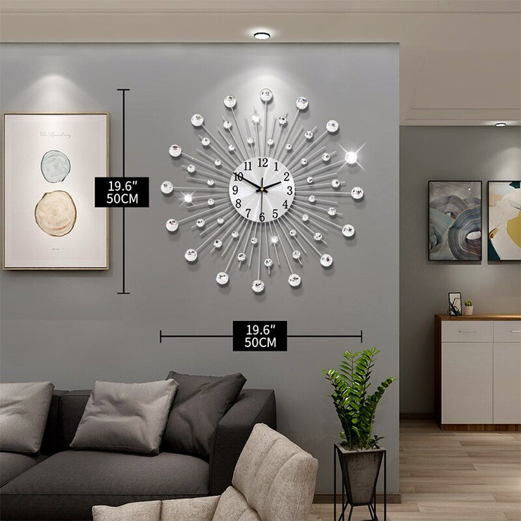 Gypsophila Diamond Fashion Wall Clock Wrought Iron Clock European Style Creative Decoration Clock Vintage Metal Art Wall Clock