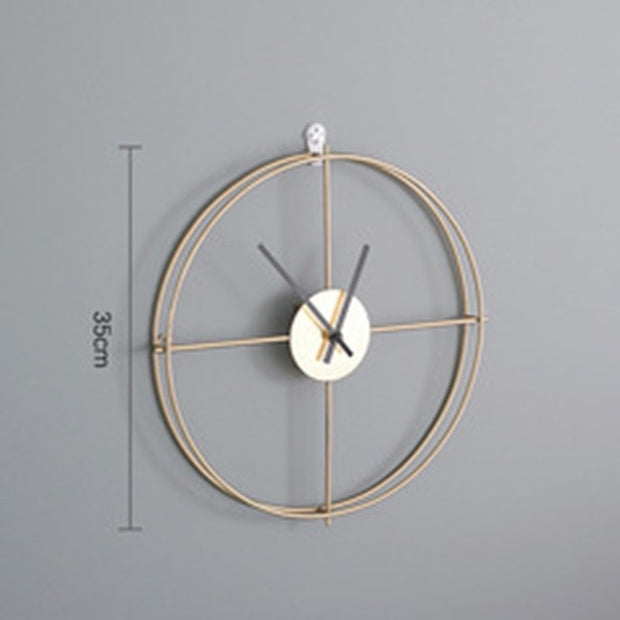 INS Nordic Style Round Metal Double Layer Golden Black Wall Clock Silent Wall Watch Modern Design Clocks For Home Decor Office