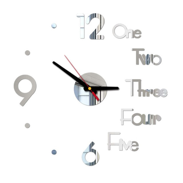 DIY Wall Clock 3D Mirror Surface Sticker Home Office Decor Clock Novelty Battery Powered Wall Decor Mirror Wall Sticker Clock @C