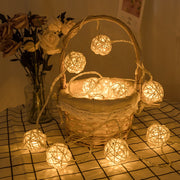 10/20/40 Led Rattan Balls Fairy String Decorative Lights Battery Operated Christmas Patio Garland Wedding Holiday Party Decor