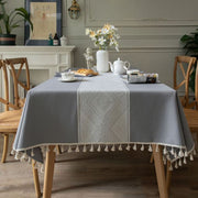 Cotton Geometric Jacquard Fabric Tablecloth Linen Rectangular Home Decoration Table Cover With Tassel For Banquet Party Nappe