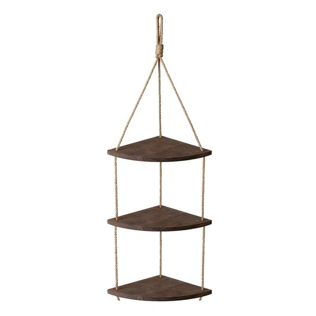 Hanging Corner Shelf 3 Tier Rope Wood Wall Floating Shelves Rustic Organizer Displays Storage Rack Home Decor for Living Room Be