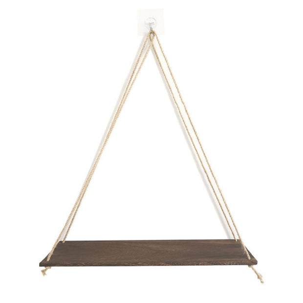 Premium Wood Swing Hanging Rope Wall Mounted Floating Shelves – Plant Flower Pot indoor outdoor decoration simple design