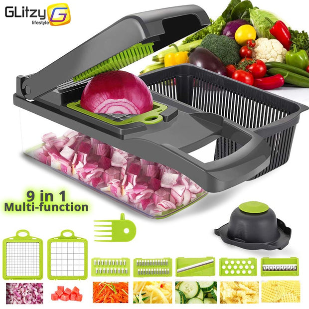 Vegetable Cutter 6 Dicing Blades Slicer Mandoline Shredder Fruit Peeler Potato Cheese Grater Chopper Kitchen Accessories Tools