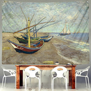 Star Moon Night Van Gogh Painting Printed Living Room Decoration Wall Hanging Tapestry Yoga Mat Rug Home Decor Art