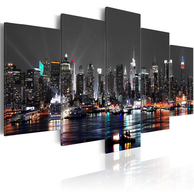 5 Panel Night View Poster New York City Construction Scenery Canvas Painting Landscape Modular Wall Art Pictures Room Decor