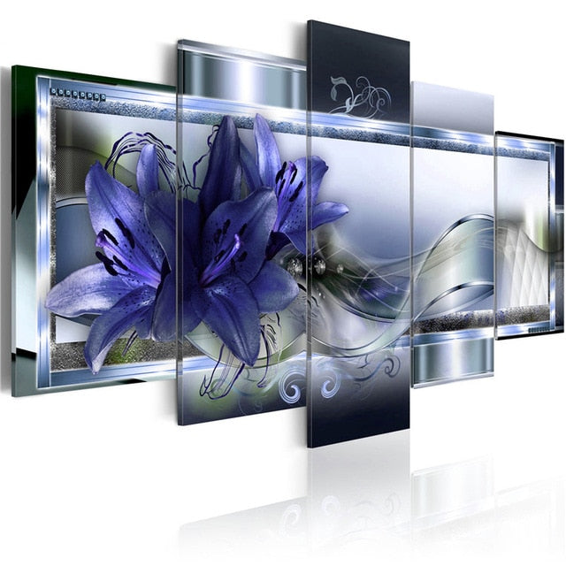 5 Pieces Colorful Floral Wall Art Simple Elegant Lilies Flowers Canvas Painting Posters and Prints Pictures for Bedroom Decor