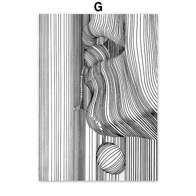 Abstract Posters and Prints Black and White Canvas Wall Art Sketch Line Draw Waves Painting Modern Fashion Home Room Decor