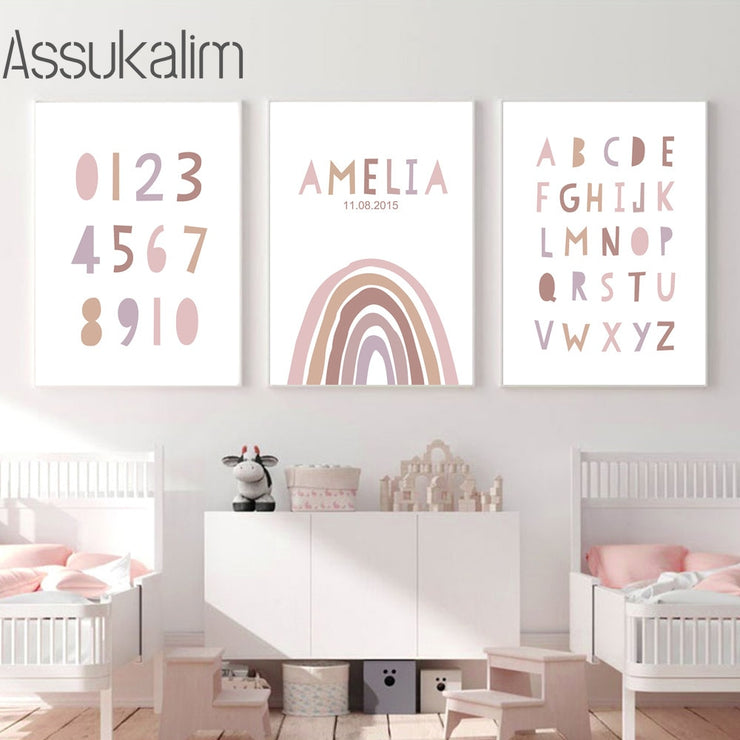 ABC Alphabet Art Print Custom Name Birth Date Rainbow Wall Art Canvas Number Painting Nursery Wall Poster For Baby Room Decor