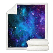 Galaxy Blanket Star Space Throw Blanket Universe Sherpa Fleece Blanket Blue Black Purple Soft Cozy Plush Blanket For Boys Girls
