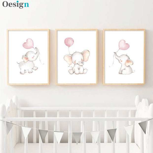 Nursery Wall Art Children Poster Elephant Balloon Print Canvas Painting Nordic Kids Decoration Picture Baby Girl  Bedroom  Decor