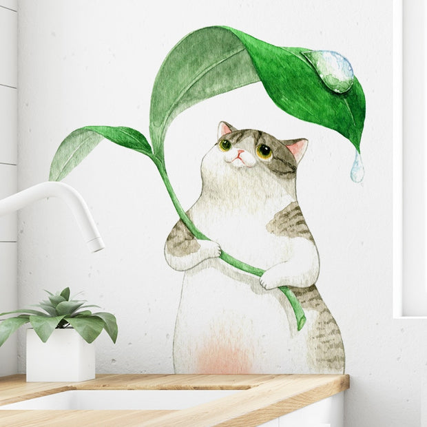 Cartoons Kitten sheltering from rain Wall sticker kids room for home decoration wallpaper living room bedroom removable stickers