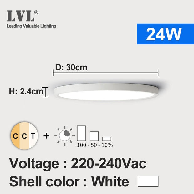 LED Ceiling Light Dimmable 12W 18W 24W 32W 220V With 3 Color Adjustable For Bedroom Livingroom Bathroom Modern Ceiling Lamp