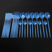 24Pcs Dinnerware Set Blue Gold Shiny Fork Spoon Knife Cutlery Stainless Steel Western Silverware For Kitchen Tableware Set