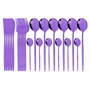 24Pcs/Set Stainless Steel Dinnerware Set White Gold Cutlery Set Knife Fork Tea Spoon Dinner Set Kitchen Tableware Silverware Set
