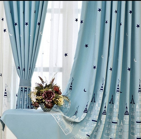 [Slow Soul] Cartoon Baby Room Curtains Embroidered Castle Tulle Curtain For  Bedroom Kids Children Rideaux Pour Le Salon CL-224