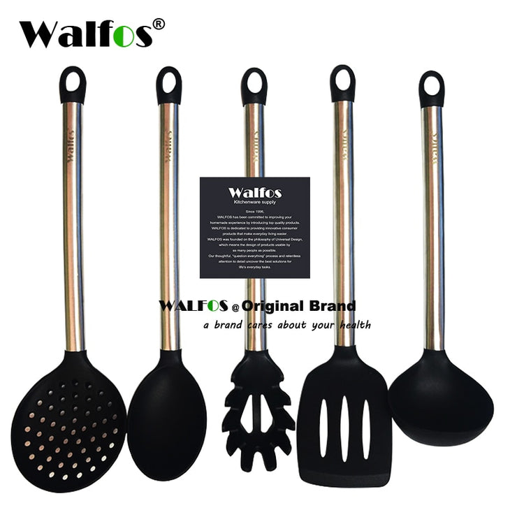 WALFOS 100% FOOD GRADE silicone cooking spoon soup ladle-egg spatula turner kitchen tools Stainless Steel Cooking Utensil Set