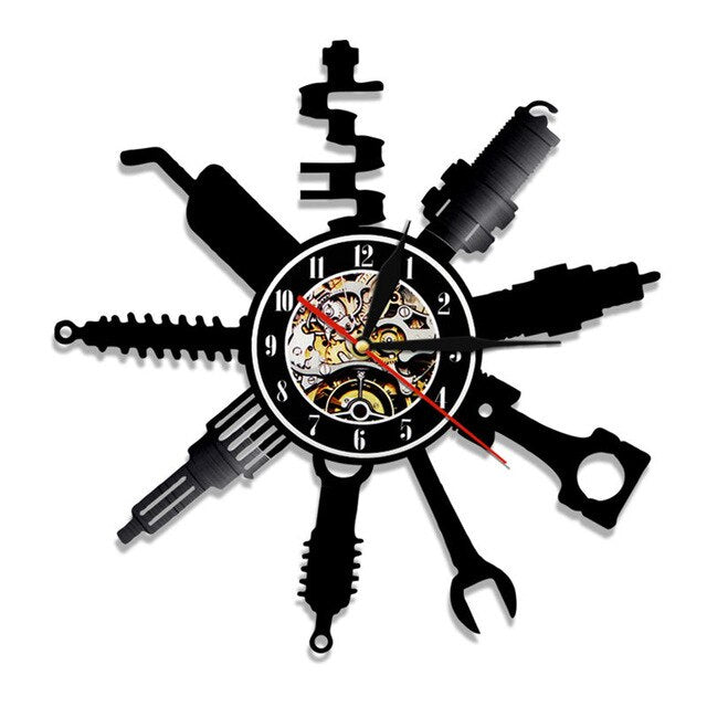 1Piece Garage Wall Clock Pimp Repairing Tool  Vinyl Record Wall Clock Car Service Car Wheel Wall Watch Home Decor Repairman Gift