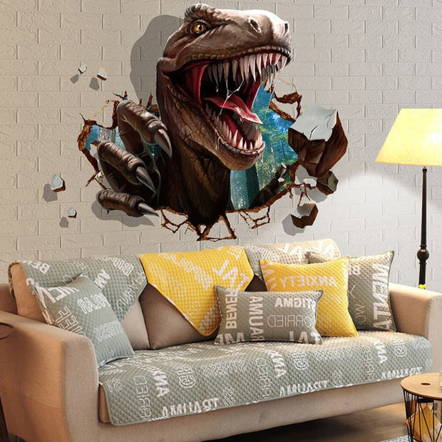 3D dinosaur wall stickers kids rooms Dinosaur Assault Bedroom living room decoration mural home decor stickers decals wallpaper