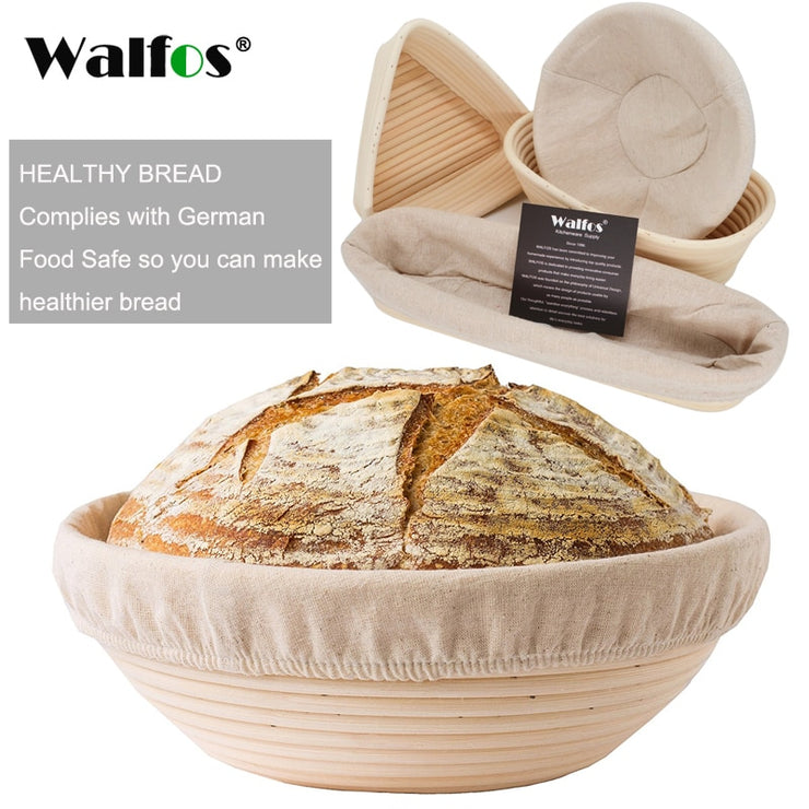 WALFOS  Natural Rattan Fermentation Wicker Basket Country Baguette French Bread Mass Proofing Baskets Dough Banneton Baskets