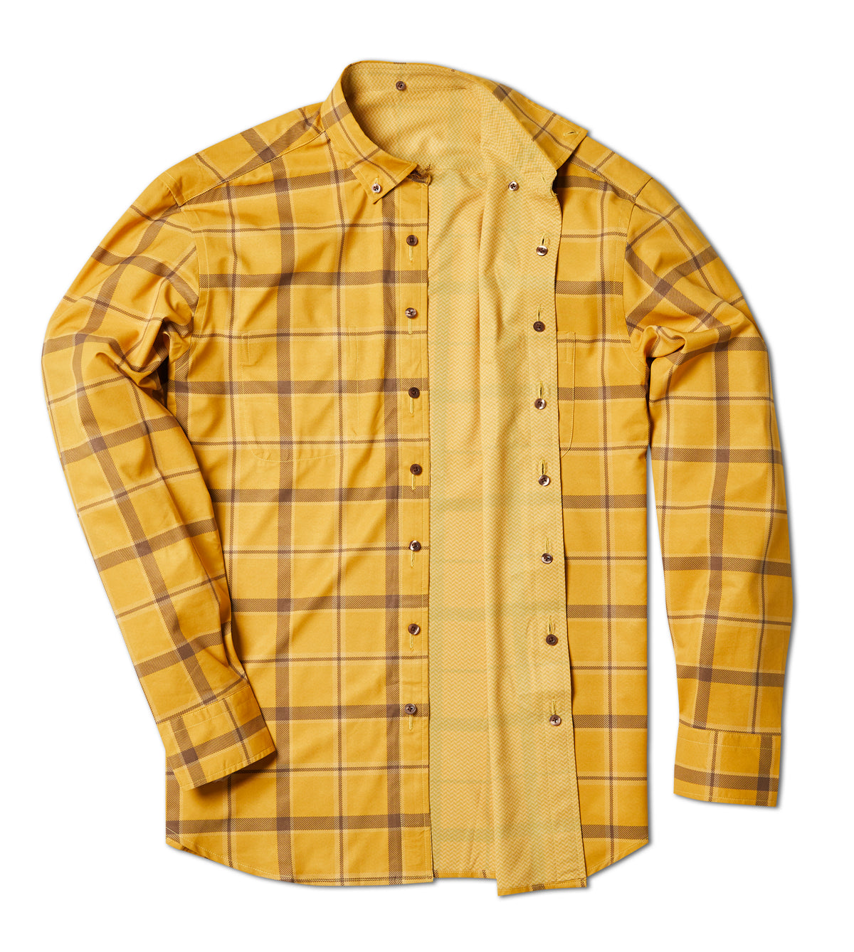 Out of Office Button Down: Mustard Tattersall