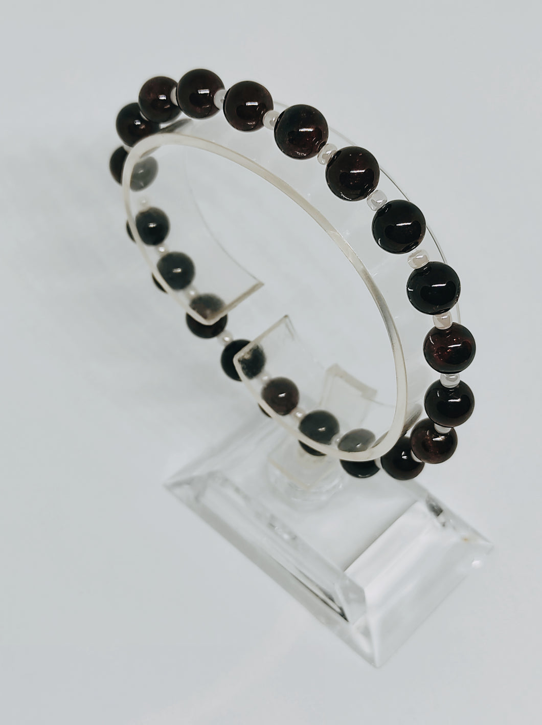 Garnet and Pearlised Czech Glass Beads
