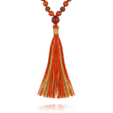 Divine Feminine Mala in natural Carnelian and hand carved sandalwood