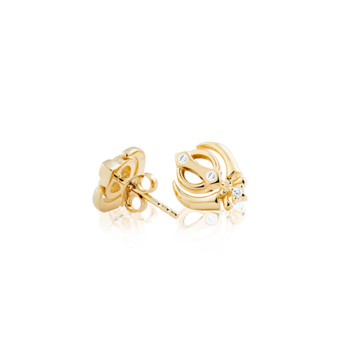 Gold Princess Earrings with Diamonds