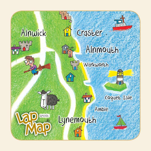 Alnwick & Craster lap map coaster - Cardtoons Publications