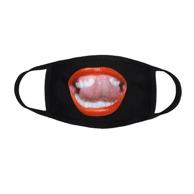 Lips and Tongue Black Facemask-MILEY CYRUS