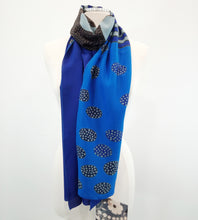 "Load image into Gallery viewer, Silk Scarf ""Stitch with Flowers - Blue"" 
