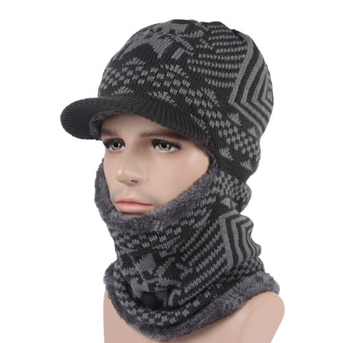 Unisex Winter Knitted Hat Scarf Skullies Beanies Caps Mask