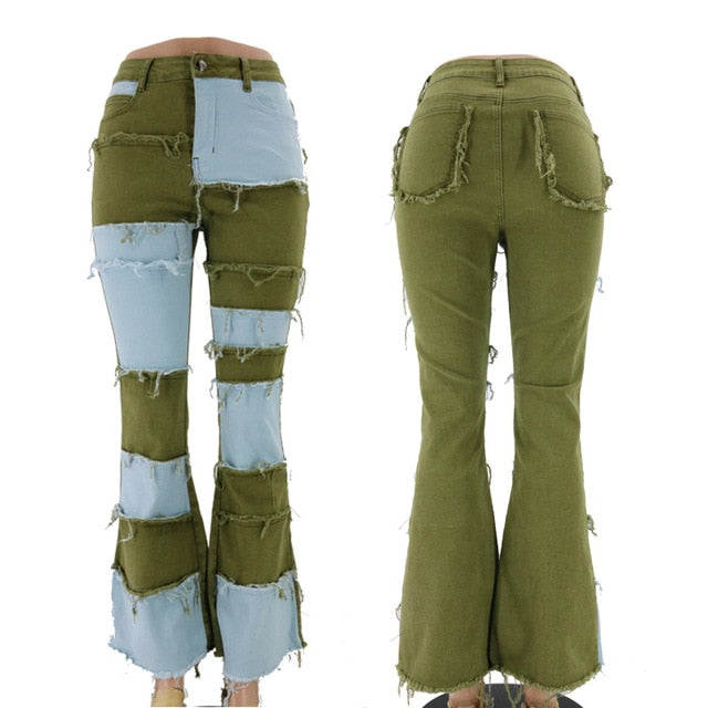Bell Bottom Jeans Women Patchwork Flare Jeans Stretch Ripped Color Block