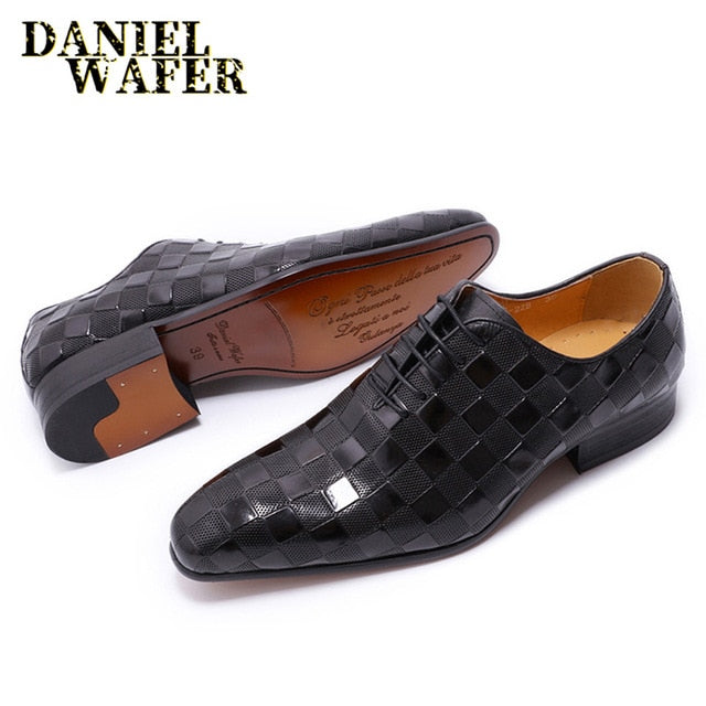 Luxury Italian Leather Shoes - Fashion Plaid Prints Lace up