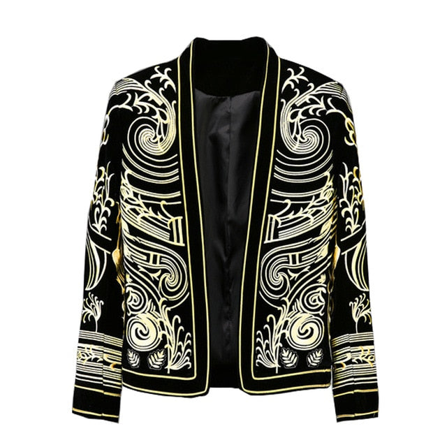 Luxury Baroque  Blazer Men Heavy Wormanship Embroidery Suit Jacket