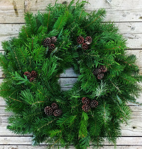 Classic Mixed Fir, Cedar, Pine Wreath with cones  26''