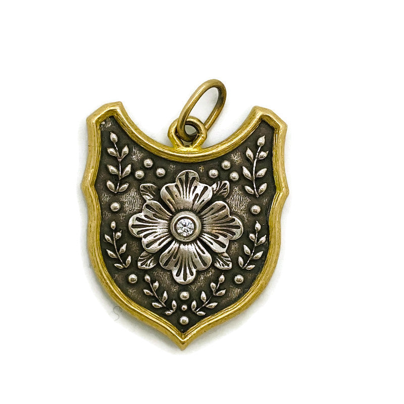 Large Flower Shield Charm