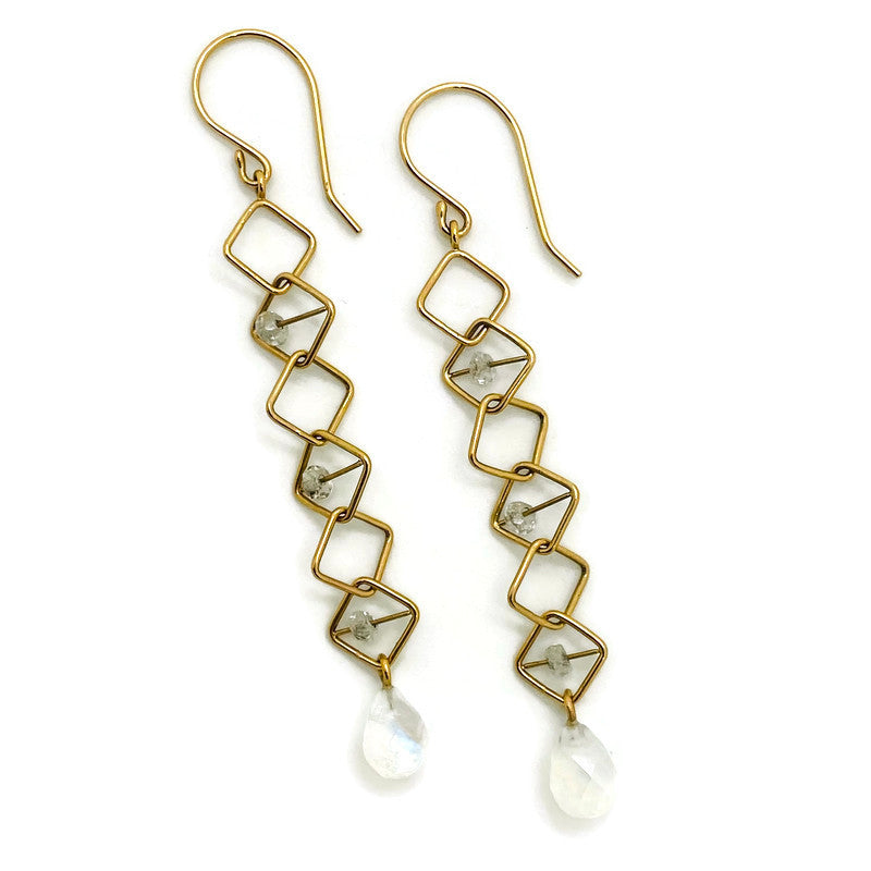 Square Link White Rainbow Moonstone Earrings
