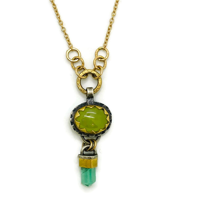 Yellow Opal and Tourmaline Crystal Necklace